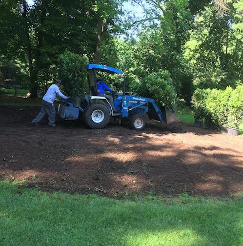 preparing soil for planting in backyard