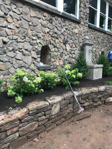 Backyard Stone Wall After
